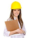 Female engineering with helmet Royalty Free Stock Photo