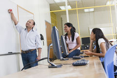 Female engineering students in computer lab Royalty Free Stock Photo