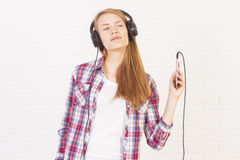 Female enjoying music Royalty Free Stock Images