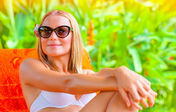 Female enjoying summer holidays Royalty Free Stock Photo