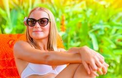 Female enjoying summer holidays Royalty Free Stock Photo