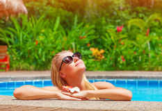 Female enjoying summer holidays Royalty Free Stock Image