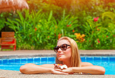 Female enjoying summer holidays Royalty Free Stock Photos