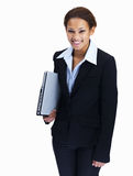 Female entrepreneur holding laptop on white Royalty Free Stock Image