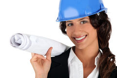 Female entrepreneur holding plans Stock Image