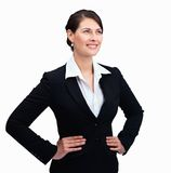 Female entrepreneur looking up at copyspace Stock Photo