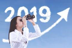 Female entrepreneur looks at numbers 2019 royalty free illustration