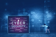 Female entrepreneur pulling cyber security text royalty free stock photos