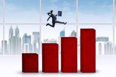 Female entrepreneur running over chart Royalty Free Stock Photo