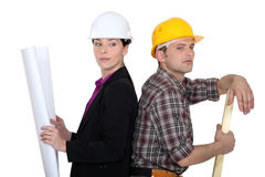Female entrepreneur and woodworker Stock Images