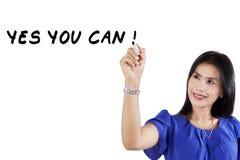 Female entrepreneur write on whiteboard Stock Photo
