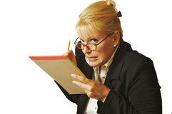 Female Erases Notes Mistake Stock Images