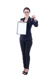 Female estate agent with clipboard and metal key isolated on whi Royalty Free Stock Photos