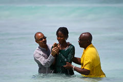 Female Evangelist Baptism. Illustrates the traditional yearly evangelist baptism that is made every year in christ church Barbados on February 10th where members Royalty Free Stock Photos