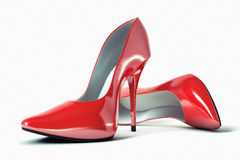 Female evening shoes. 3D illustration of pair strict red classical female evening shoes Royalty Free Stock Photography