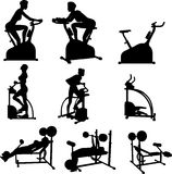 Female Excercise Silhouettes Stock Photo