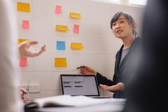 Female executive giving presentation. Asian businesswoman presenting her new ideas on laptop and adhesive notes on wall. Young female executive giving Royalty Free Stock Photos