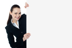 Female executive holding blank whiteboard Stock Photography