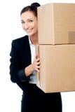 Female executive holding cartons Stock Image