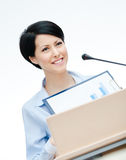 Female executive at the podium Royalty Free Stock Photo