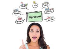 Female executive pointing at marketing concepts above her head Stock Image