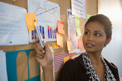 Female executive pointing at sticky note on the bulletin board Royalty Free Stock Image