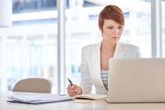 Female executive reading on her laptop while working Royalty Free Stock Photos