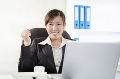 Female executive show success gesturing Stock Photography