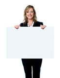 Female executive showing an advertising board Stock Photo