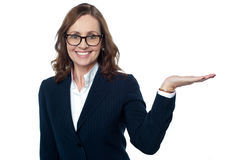 Female executive showing the copy space area Stock Photo
