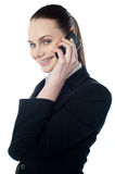 Female executive talking on mobile. And smiling at camera Royalty Free Stock Image