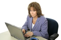 Female Executive Working Late stock photo