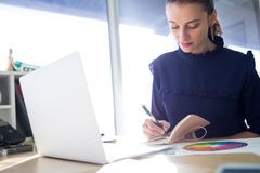 Female executive writing in diary at her desk Royalty Free Stock Photography