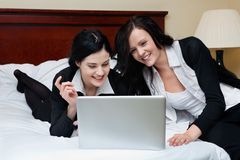 Female Executives Working on Laptop Royalty Free Stock Images