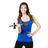 Female exerciser dumbbells Royalty Free Stock Photos