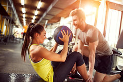 Female exercises abs Stock Photo