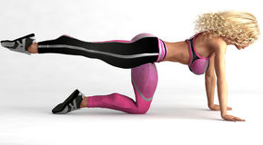 Female exercising on floor Royalty Free Stock Images
