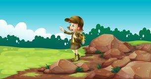 A female explorer near the rocks Stock Photos