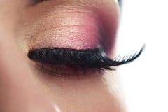 Female eye. Closeup of a female eye with long false eyelashes Royalty Free Stock Photo