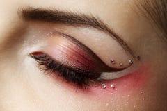 Female eye. Macro of Beautiful Makeup eye Royalty Free Stock Image