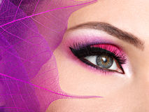 Female eye with beautiful fashion bright pink makeup. Closeup female eye with beautiful fashion bright pink makeup stock photos