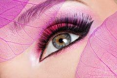 Female eye with beautiful fashion bright pink makeup. Closeup female eye with beautiful fashion bright pink makeup stock image