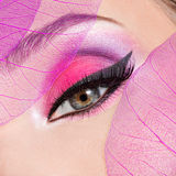 Female eye with beautiful fashion bright pink makeup. Closeup female eye with beautiful fashion bright pink makeup royalty free stock photography