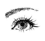 Female eye carelessly drawn Royalty Free Stock Images