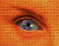 Female eye with CD as pupil. On background of binary code Royalty Free Stock Photos