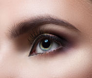 Female eye close-up. Perfect makeup and eyebrows. Beautiful gray eyes Stock Photo