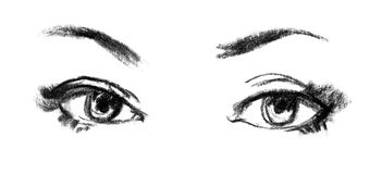 Female eye close-up, sketch Royalty Free Stock Photos