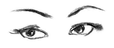 Female eye close-up, sketch Stock Photos