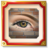 Female eye closeup in the frame. On a brick wall. Vector Royalty Free Stock Images