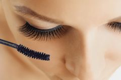 Female eye with extreme long eyelashes and brush of mascara. Make-up, cosmetics, beauty. Close up, macro stock photography